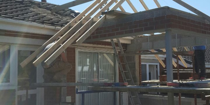 Hip roof fitted on new sun room extension in Dunmurry