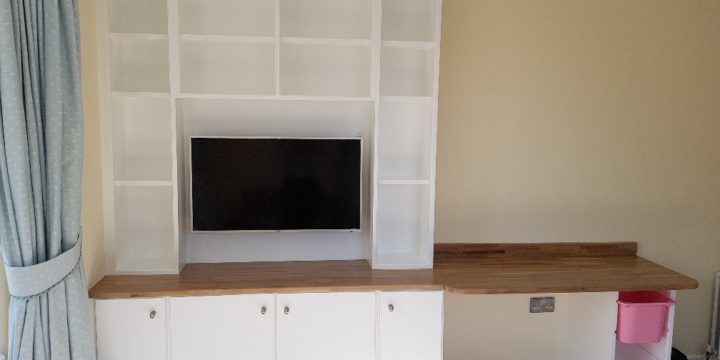 Bespoke shelving units fitted in play room in east Belfast