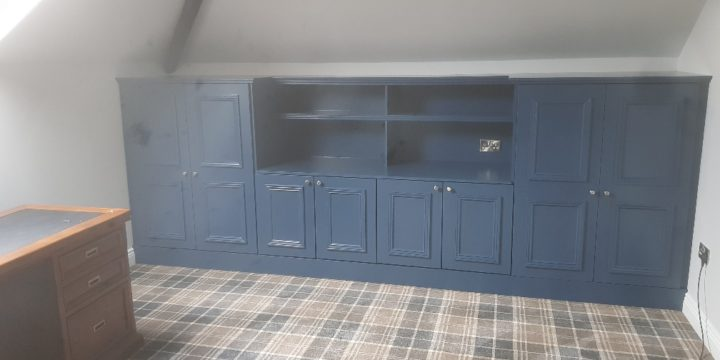 Bespoke book shelving fitted in study in Hillsborough